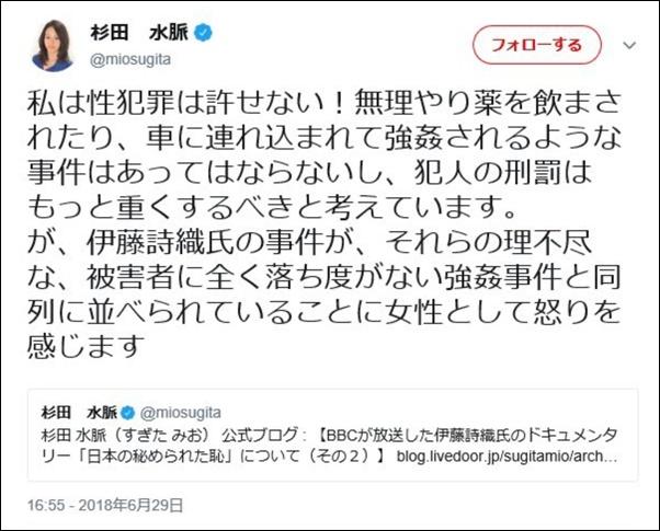 杉田水脈・ツイッター